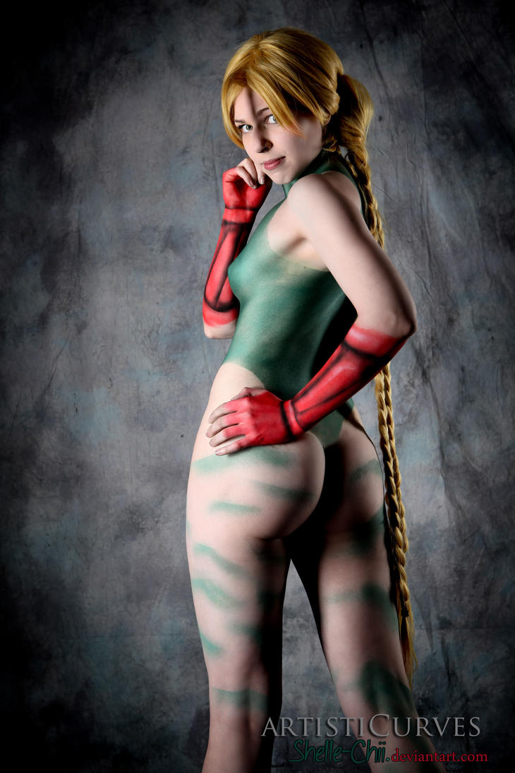 Erotic nude body painting heavily