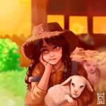 Girl And A Sheep