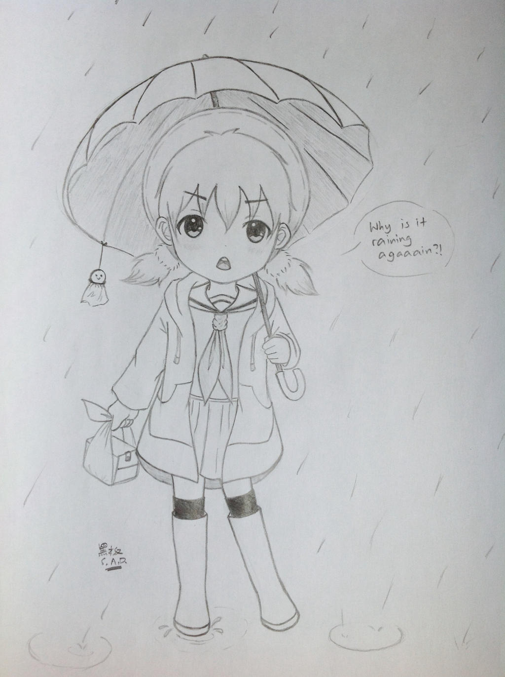 Rain - Elementary School Girl by SunsetAtDusk