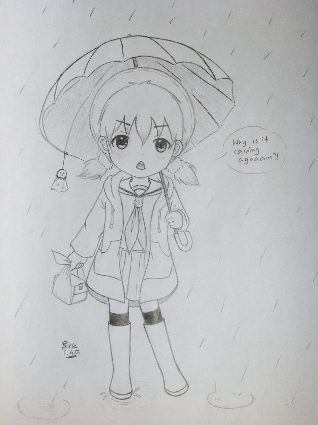 Rain - Elementary School Girl by SunsetAtDusk