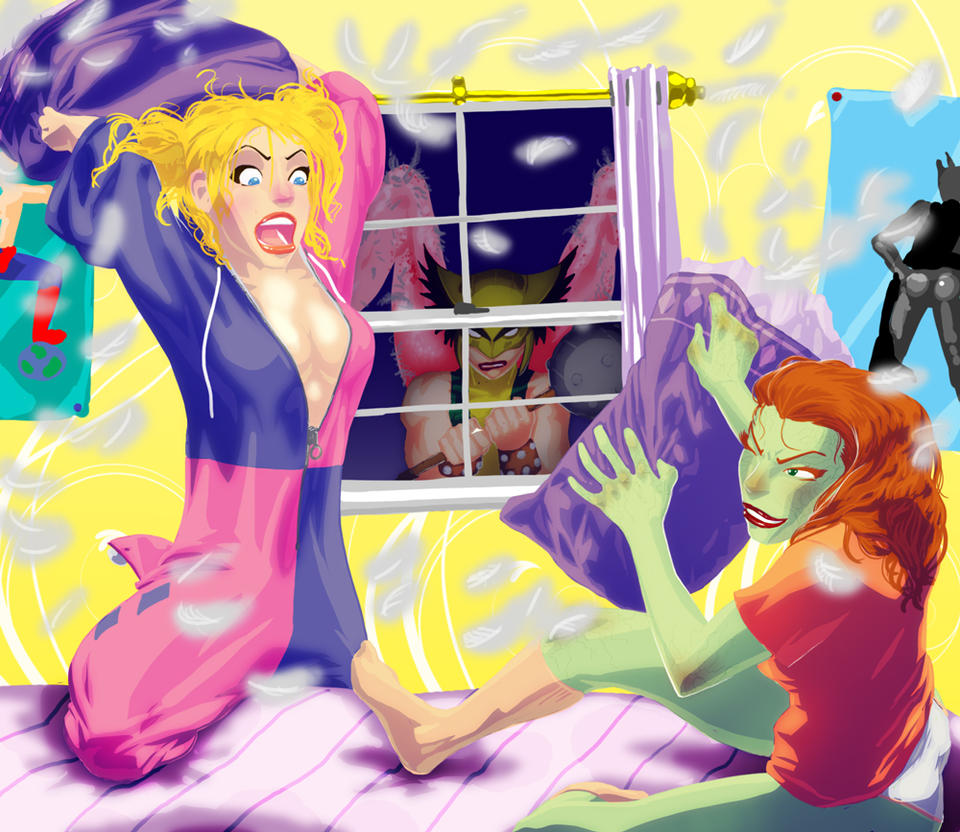Harley and Ivy VS Hawkgirl by NDGO