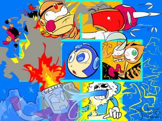 The Mega Man 1 Gang by CyberMoonStudios