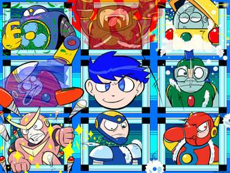 The Mega Man 2 Troop by CyberMoonStudios