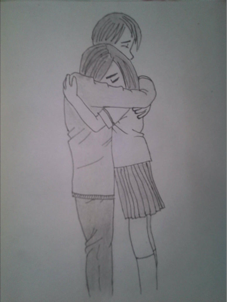 Hugging Couple Drawing Cute couple hugging by...