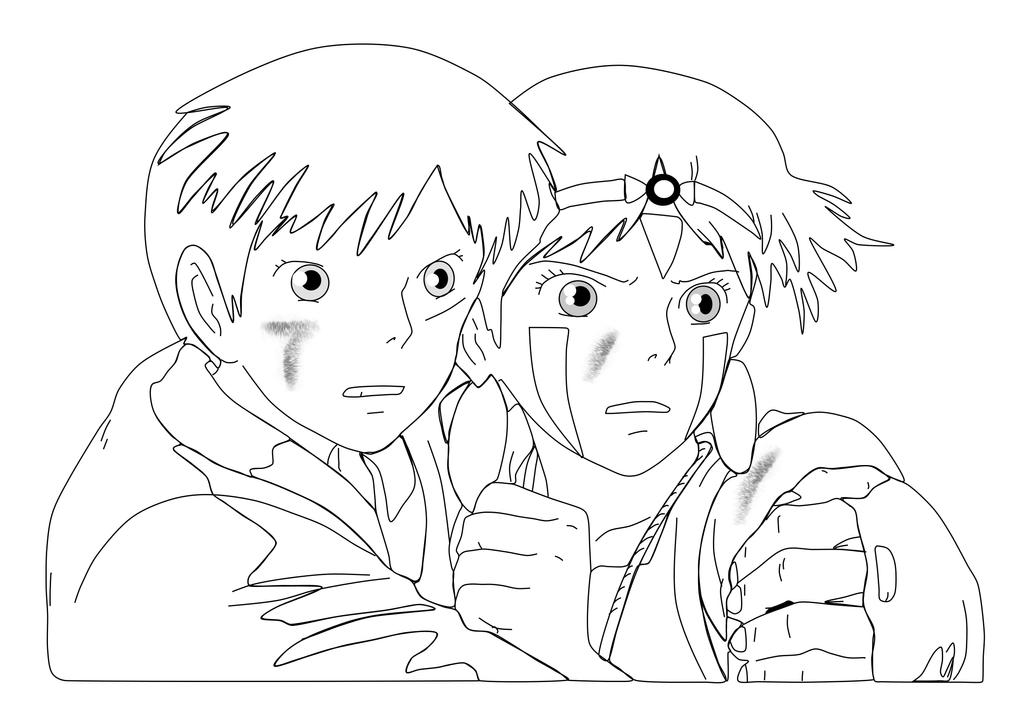 Coloriage Princesse Mononoke.Princess Mononoke Coloring Pages