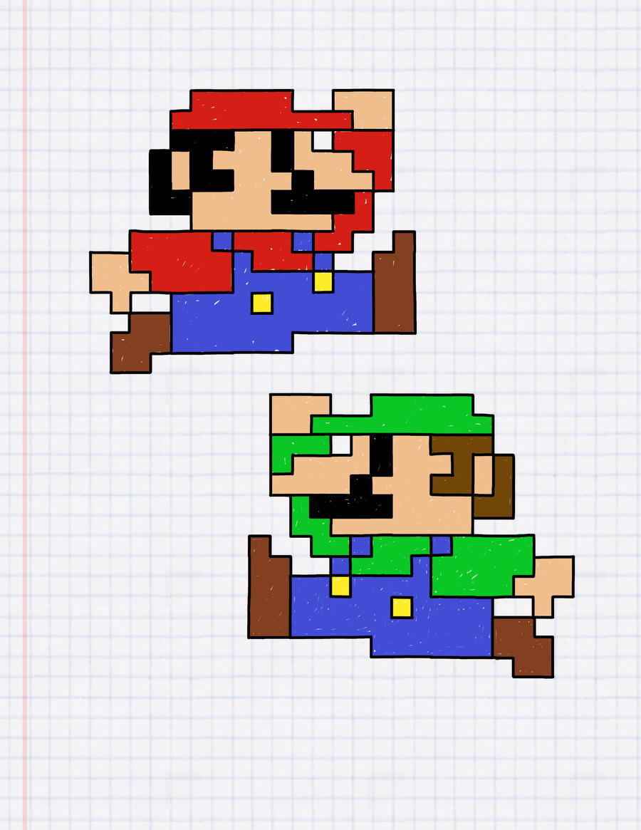 Mario and Luigi: The Graph Paper Edition by henrickdulin on DeviantArt