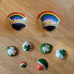 Irish themed painted shells by Nijikazegirl