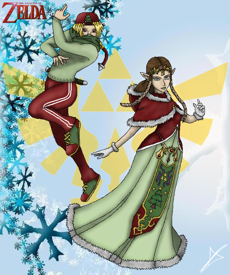 Zelda and Sheik - Merry Christmas by AndsportsART on DeviantArt