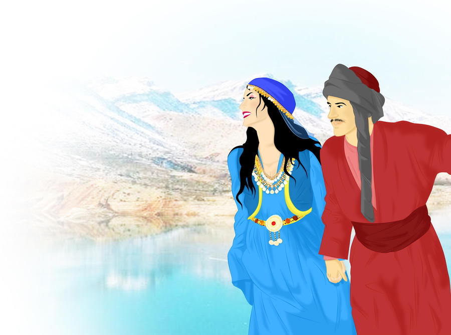 Traditional Kurdish Couple by ArsalanKhanArtist