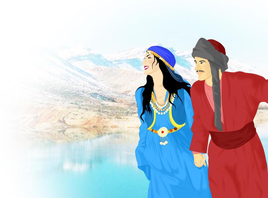 Traditional Kurdish Couple by ArsalanKhanArtist