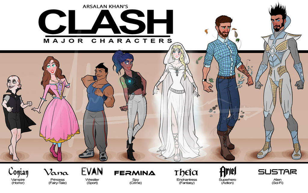 Clash's Major Characters by ArsalanKhanArtist