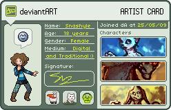 Snashyle's Artist Card by Saskle