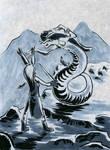 Inktober #30: Fencer v.s. Lamia by Saskle