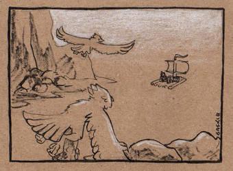 Late Inktober #25: Ship by Saskle