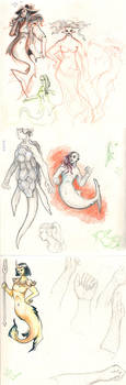Mermay Sketchbook Pages by Saskle
