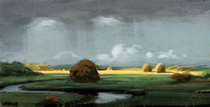 Sudden Shower, Newbury Marshes Study