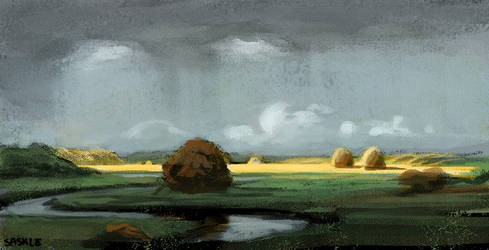 Sudden Shower, Newbury Marshes Study by Saskle