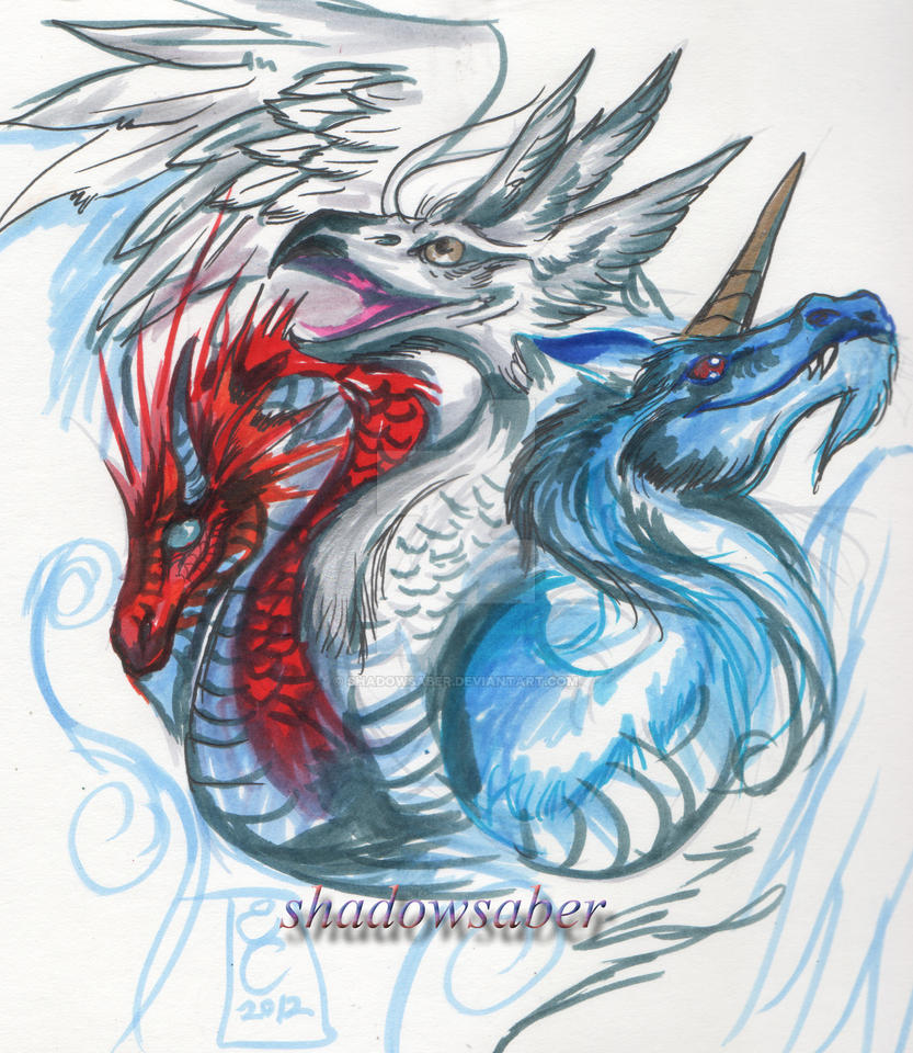Red White and Blue Dragon by ShadowSaber