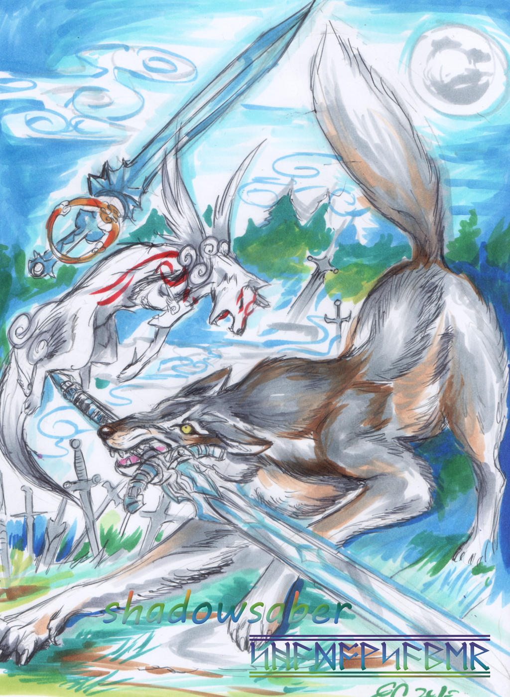Cross battle Amaterasu Vs Great Wolf Sif by ShadowSaber on ...