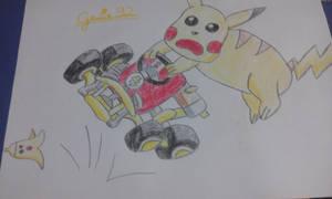 Pikachu in Mario Kart by Genie92