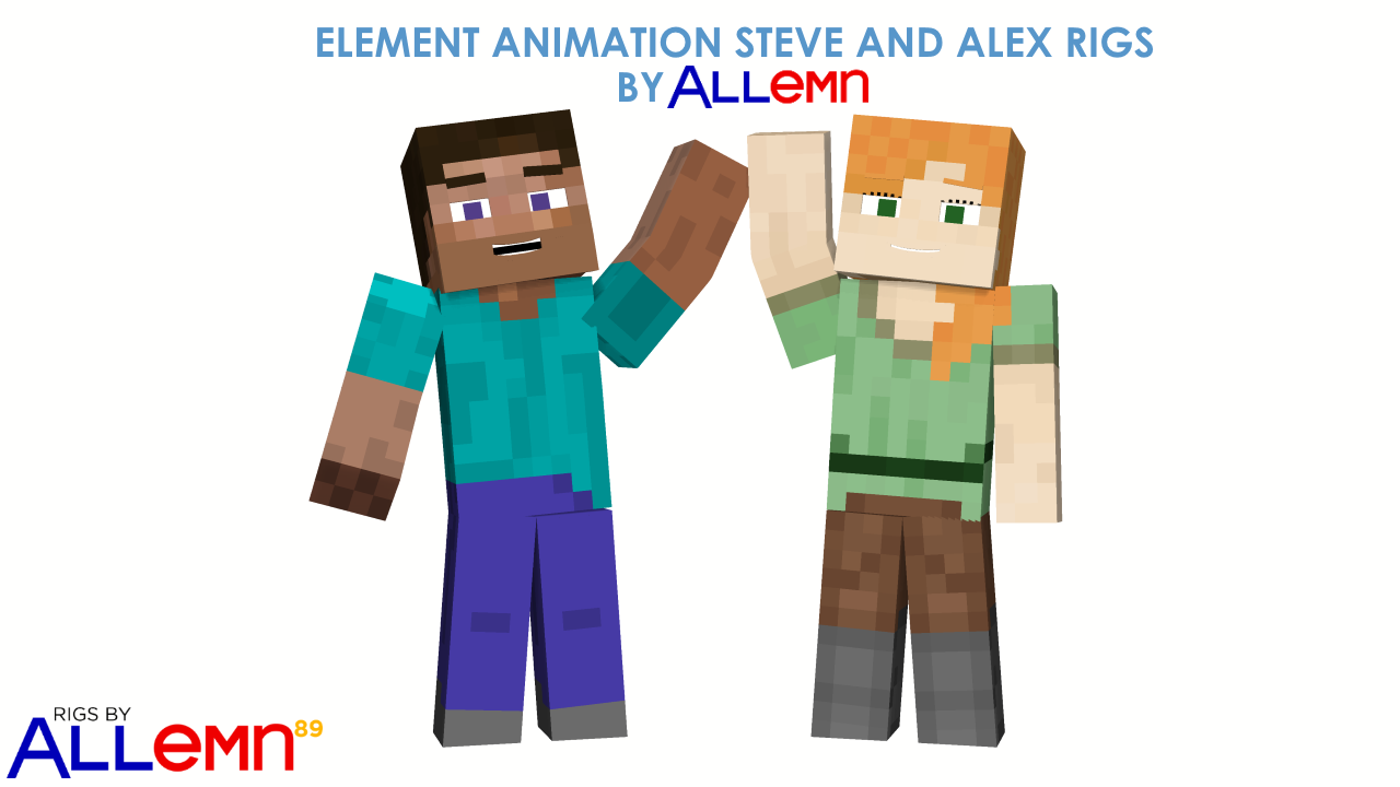 Allemn S Element Animation Steve And Alex Rig Rigs Mine Imator