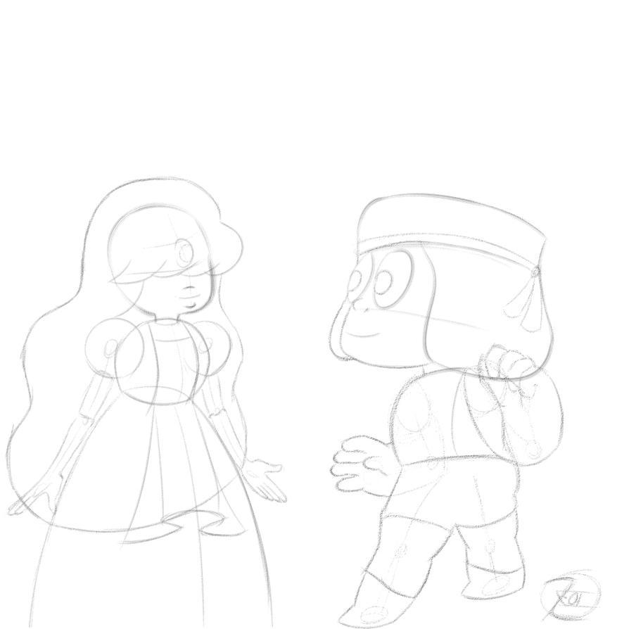 Ruby and sapphire sketch 1 by Zeke-01