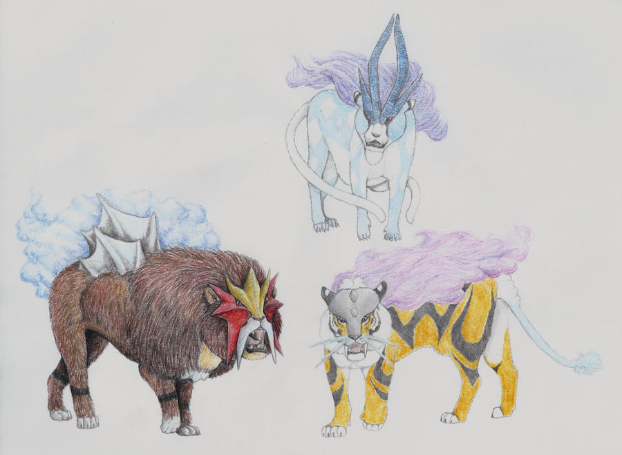 Raikou, Entei and Suicune by yoult on DeviantArt