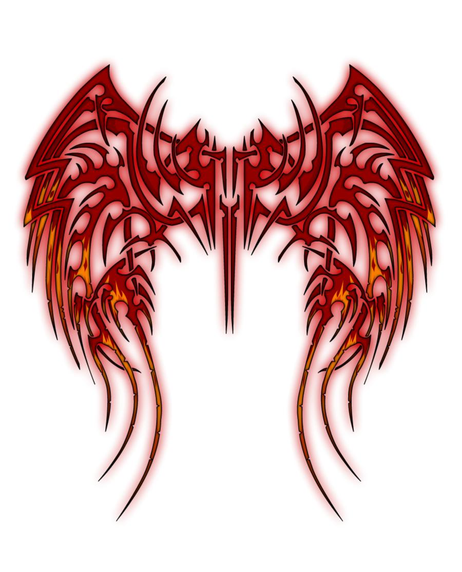 Tribal Cross With Wings Drawings Fallen tribal wings by aka-Tribal Cross With Tribal Wings