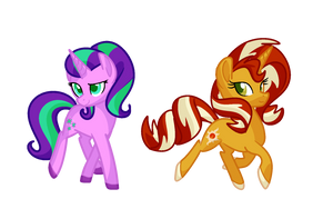 Shimmer and Glimmer G5 redesigns by Andromedasparkz