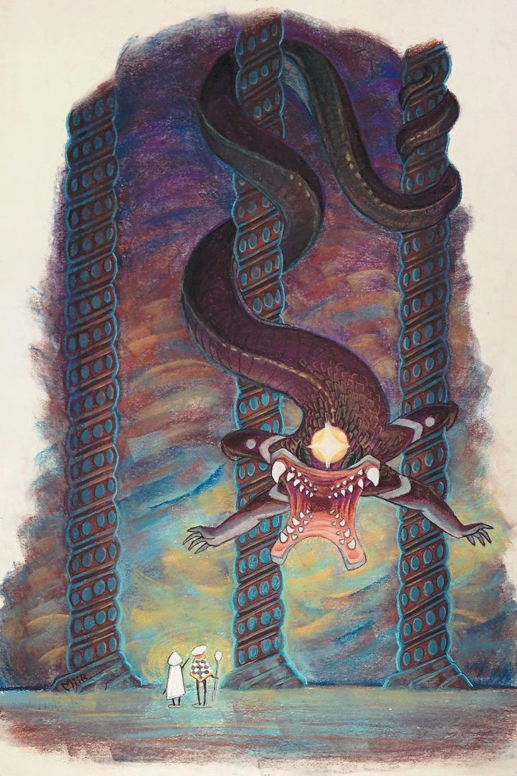 Descending Daemon by miirshroom