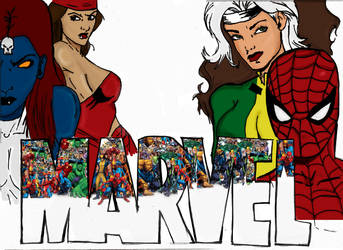 Marvel Logo- Coloured by TellMeTheBlues