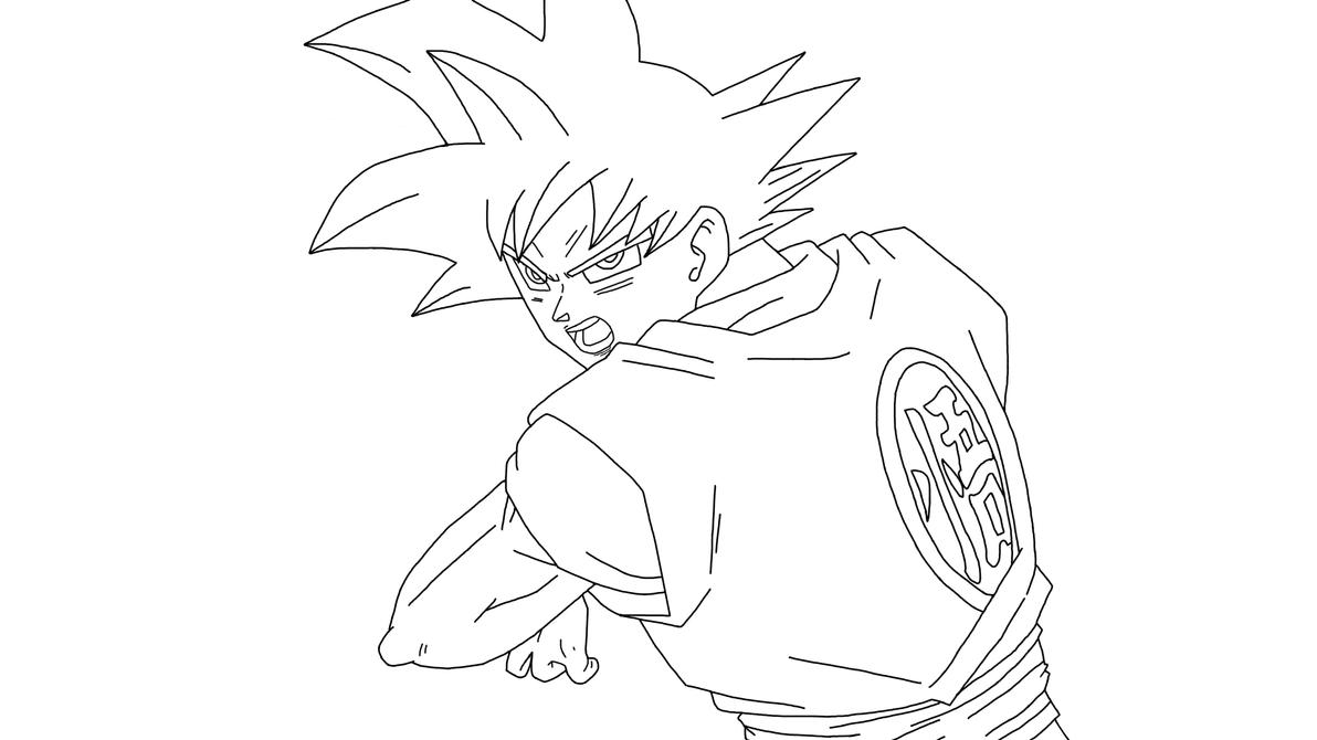 SSJ God Goku Kamehameha (Lineart) by DragonBallAffinity on ...