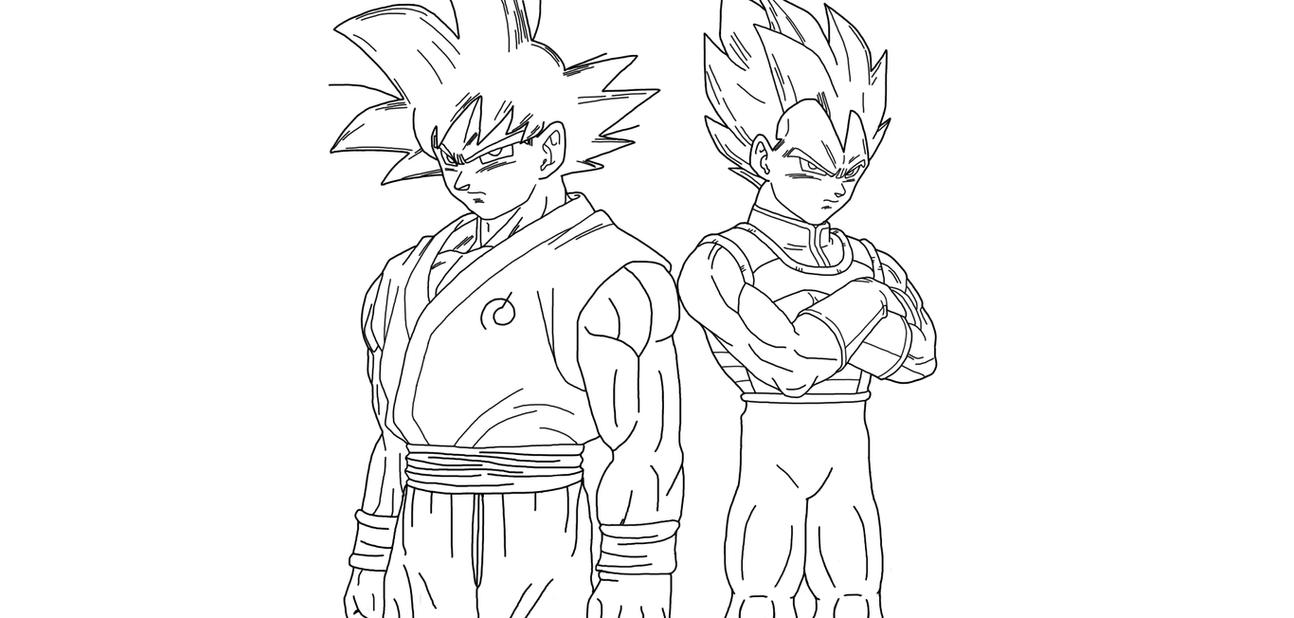 Goku And Vegeta Fukkatsu No F (Lineart) By