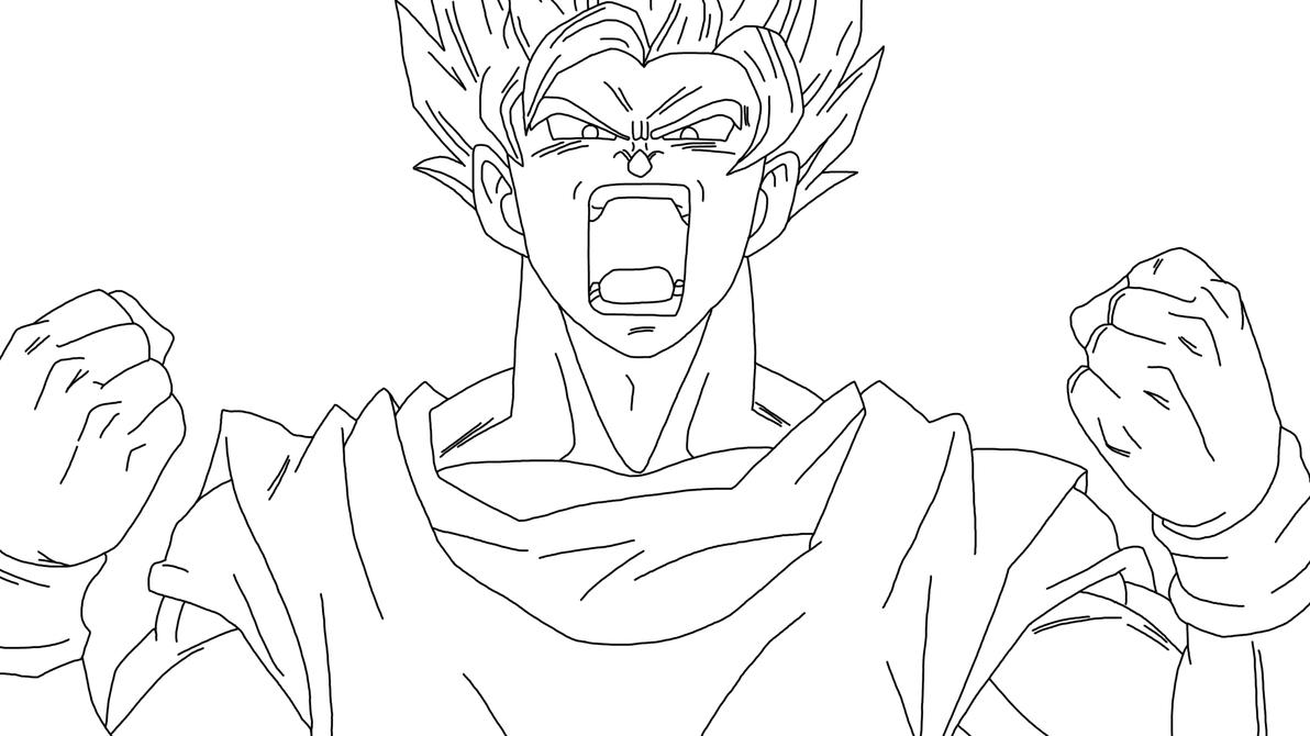 Goku SSJ2 Powerup (Lineart) by DragonBallAffinity on ...