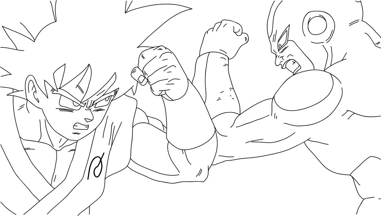 Line Art Vs No Line Art : Goku vs frieza fukkatsu no f clash lineart by