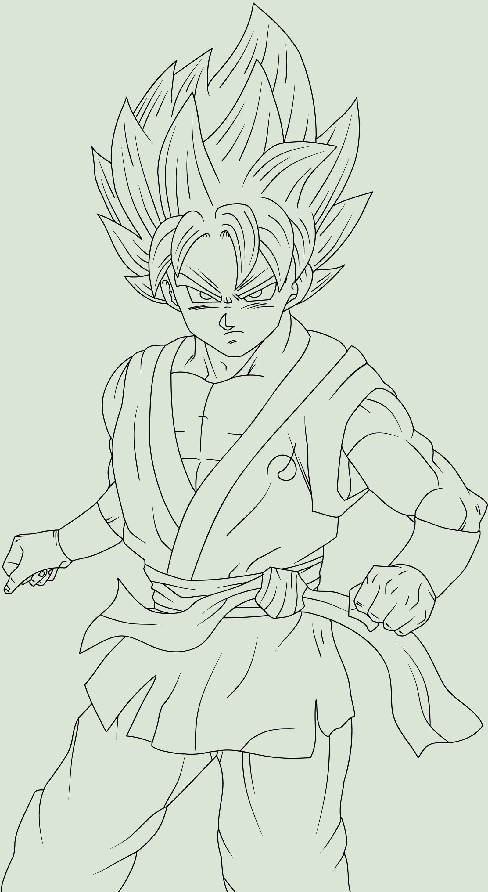 Goku SSJGod SS Fukkatsu no F Poised Lineart by DragonBallAffinity on ...