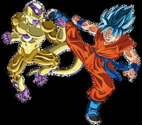 Gold Frieza vs SSGSS Goku no aura by DragonBallAffinity