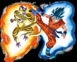 Gold Frieza vs SSGSS Goku Aura by DragonBallAffinity