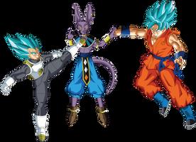 Vegeta and Goku SSGSS vs Lord Beerus by DragonBallAffinity