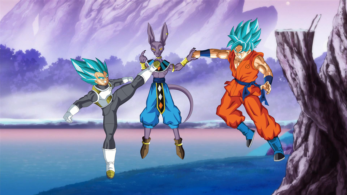 Vegeta and goku ssgss vs lord beerus wallpaper by eymsmiley on