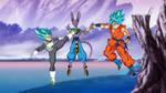 Vegeta and Goku SSGSS vs Lord Beerus Wallpaper