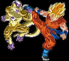Gold Frieza vs SSJ Goku