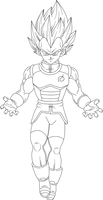 Vegeta SSGSS Render Lineart by DragonBallAffinity