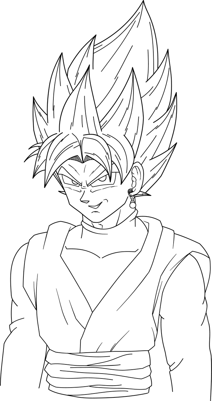 goku black ssj rose profile shot lineart by