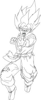 Goku Rushing SSJBlue Rough Lineart