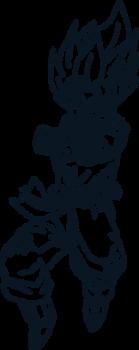 Goku SSJ Blue Rushing Lineart