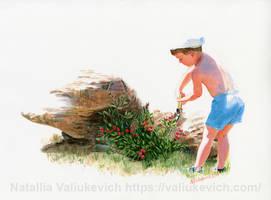 Little gardener. Commission - Watercolor portrait