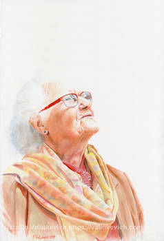 Title: What does she see? Watercolor portrait
