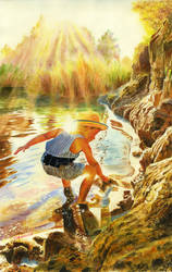 Discovering the world. Traditional watercolor.