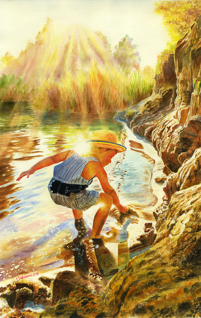 Discovering the world. Traditional watercolor. by NatalliaValiukevich